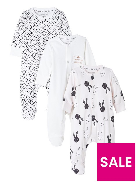 river-island-baby-baby-girls-3-pack-bunny-sleepsuit-pink