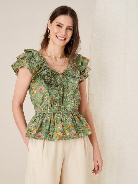 monsoon-monsoon-artisan-green-frill-shoulder-top