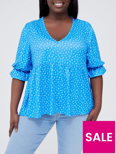in-the-style-curve-in-the-style-curve-x-jac-jossa-floralnbspprint-smock-top-with-puff-sleeves-blue