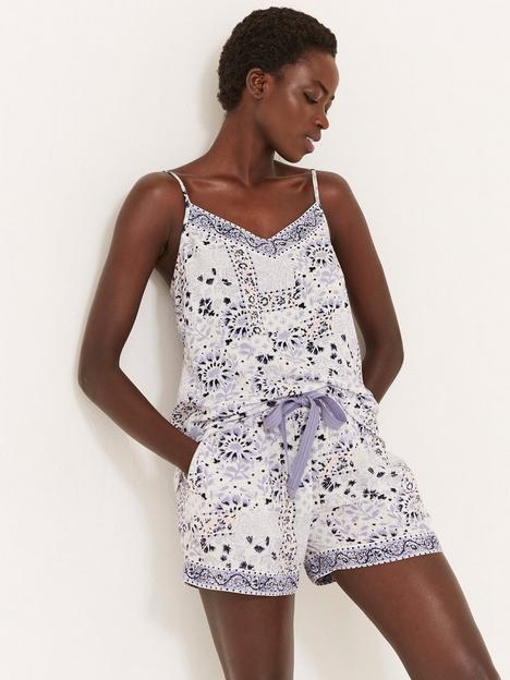fatface-fatface-floral-mosaic-pyjama-cami-and-short-set-white