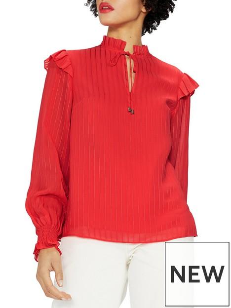 ted-baker-highnbspneck-long-sleeve-blouse-coral