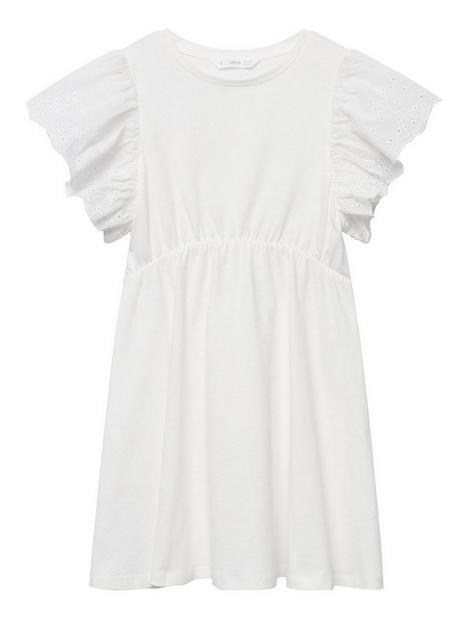 mango-girls-frill-sleeve-dress-white