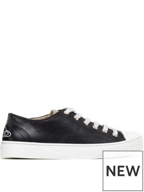 vivienne-westwood-vegan-leather-plimsoll-low-top-black