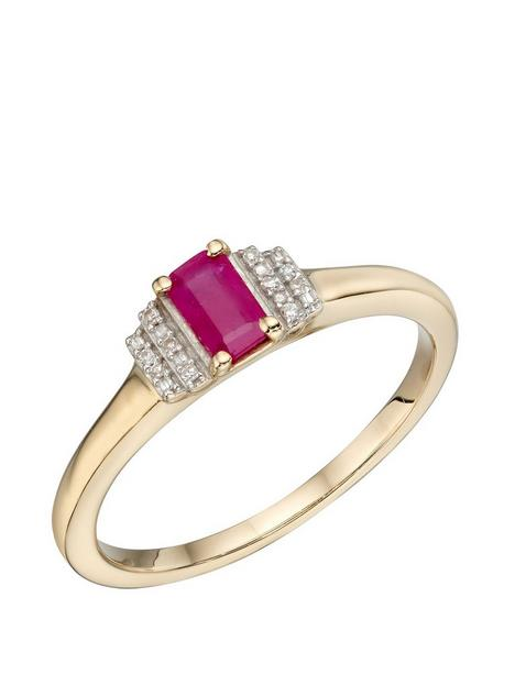 the-love-silver-collection-9ct-yellow-gold-ruby-baguette-rings-with-diamond-details