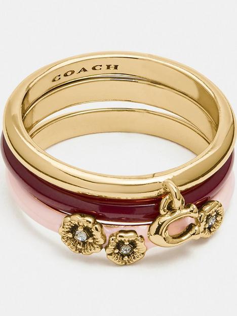 coach-pink-enamel-tea-rose-ring-stacking-set-goldpink