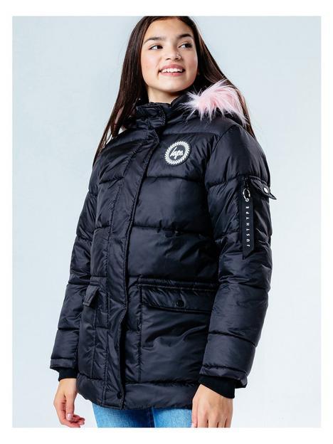 hype-girls-pink-trim-explorer-padded-coat-black