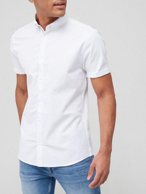 river-island-maison-riviera-short-sleeve-regular-fit-oxford-shirt-white