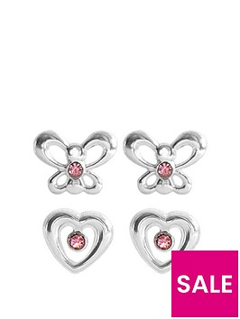 the-love-silver-collection-sterling-silver-set-of-two-pink-crystal-butterfly-and-heart-studs