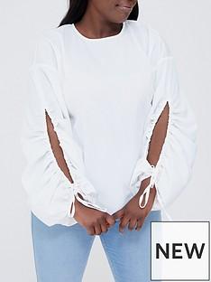ax-paris-curve-ax-paris-curve-white-keyhole-sleeve-detail-blouse