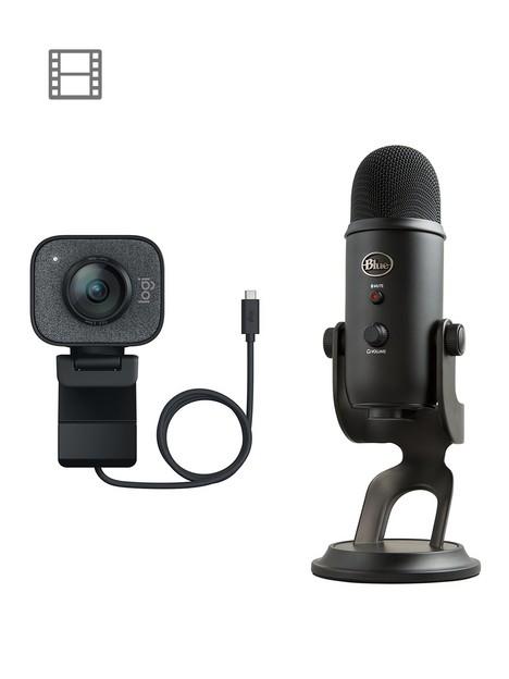 logitech-streamcam-full-hd-1080p-usb-c-webcam-and-blue-yeti-usb-microphone-streaming-bundle-blackout-edition