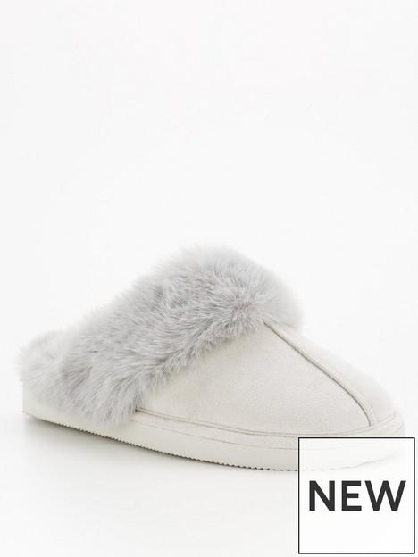 v-by-very-faux-fur-lined-mule-slipper-grey