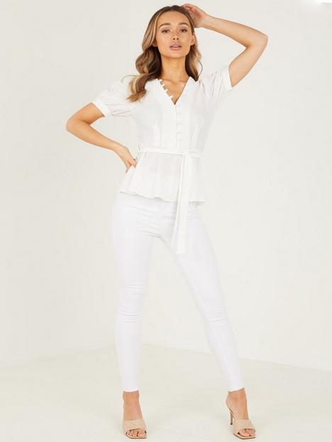 quiz-waffle-v-neck-blouse-white