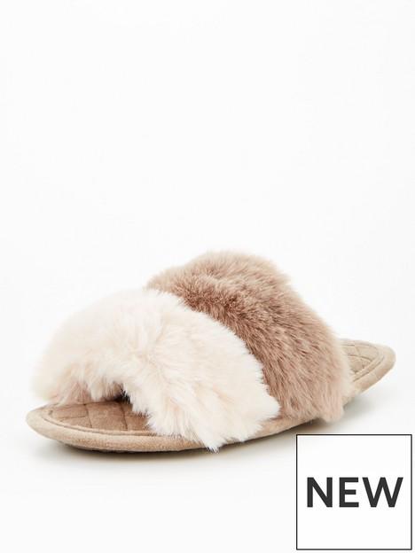 v-by-very-twin-strap-faux-fur-slider-slipper-mink