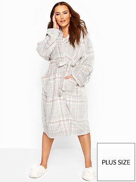 yours-yours-london-check-well-soft-robe--nbspgrey