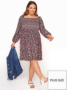 yours-yours-limitednbspditsy-shirred-balloon-sleeve-dress-multi