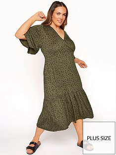 yours-yours-limitednbspwrap-over-floral-dress-khaki