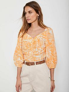 mint-velvet-rachel-print-puff-sleeve-top-orange