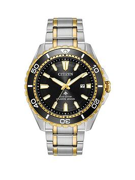 citizen-promaster-black-dial-stainlesssteel-and-gold-tone-mens-bracelet-watch