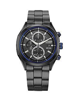 citizen-calibre-b612-black-chronograph-dial-blue-detailing-black-bracelet-mens-watch