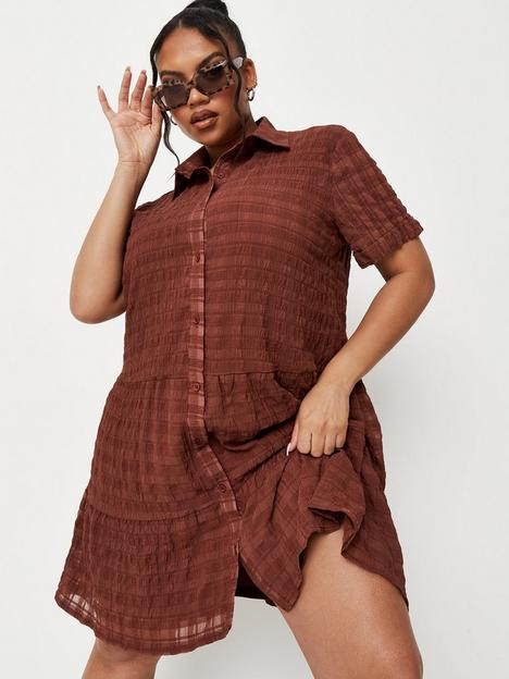 missguided-plus-missguided-plus-textured-shirt-dress-brownnbsp