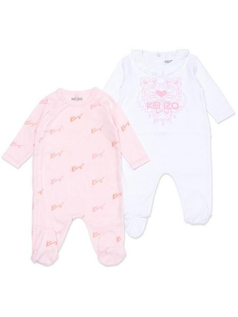 kenzo-baby-girl-tiger-logo-babygrow-set-light-pinkwhite