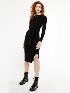 new-look-ribbed-knit-tie-waist-midi-dress-black