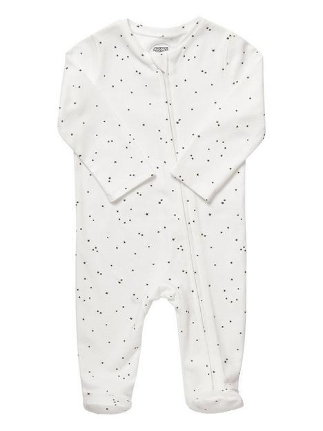 mamas-papas-unisex-baby-star-printed-zip-sleepsuit-white