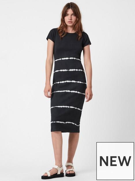 allsaints-niko-tie-dye-stripe-dress-black