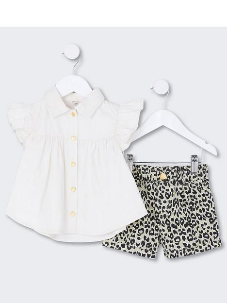 river-island-mini-mini-girls-leopard-short-and-shirt-set-beige