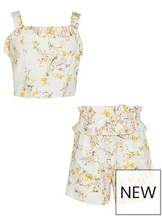 river-island-girls-floral-top-and-short-set-cream