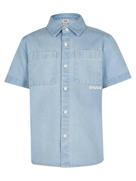 river-island-boys-short-sleeve-denim-shirt-blue