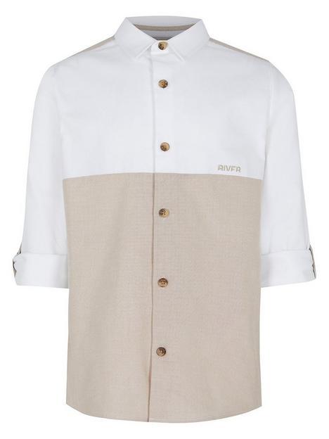 river-island-boysnbspcolournbspblocked-roll-sleeve-shirt-beige