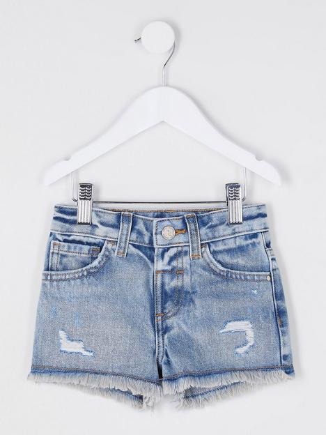 river-island-mini-girlsnbspathentic-becca-bow-boyfriend-shorts-blue