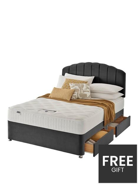 silentnight-ava-memory-1000-pocket-velvet-divan-bed-with-storage-options-headboard-included