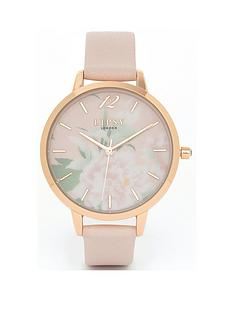 lipsy-floral-dial-nude-strap-watch