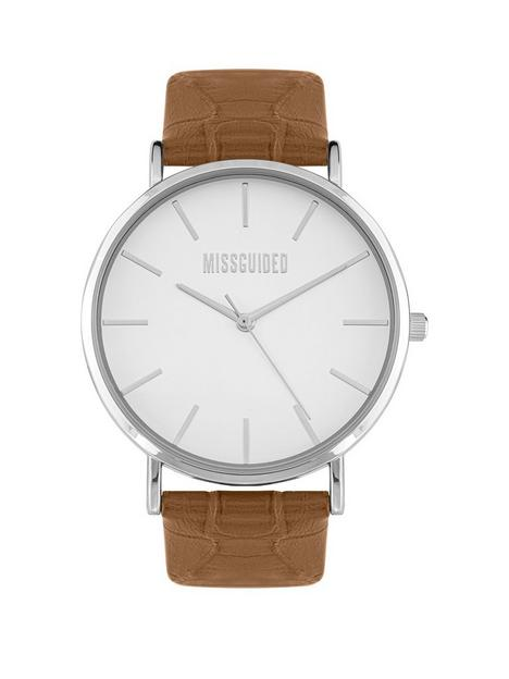 missguided-white-dial-tan-strap-watch