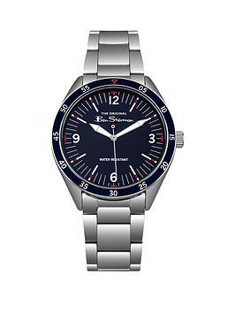 Ben Sherman Ben Sherman Blue Dial Red Accents Stainless Steel Bracelet Watch, Silver, Men
