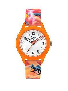 hype-orange-print-strap-kids-watch