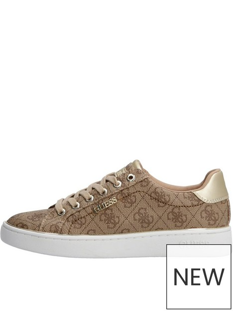 guess-beckie-four-g-logo-lace-up-trainers-brown