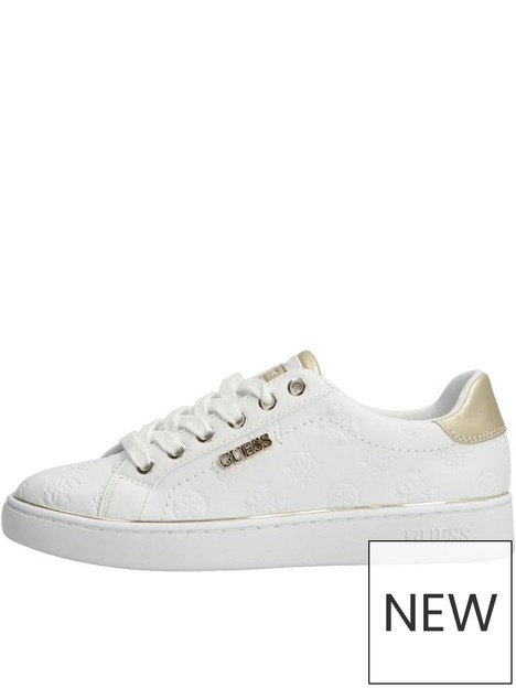 guess-beckie-gold-detail-lace-up-trainers-white