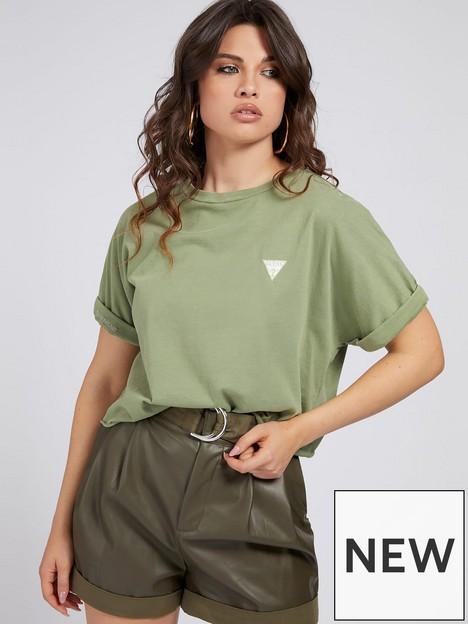 guess-selena-roll-hem-t-shirt-green