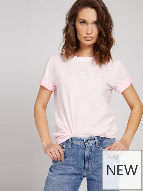 guess-1981-logo-t-shirt-with-rolled-hem-pink