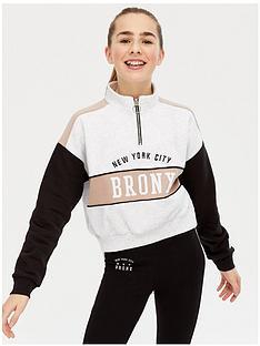 new-look-girls-set-bronx-funnel-neck-zip-sweat-brown