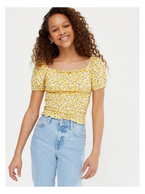 new-look-girlsnbspnina-shirred-puff-sleeve-top-yellow