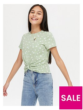 new-look-girlsnbspnadine-twist-front-t-shirt-green