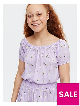 new-look-girls-ditsy-floral-bardot-top-amp-skirt-set-lilac