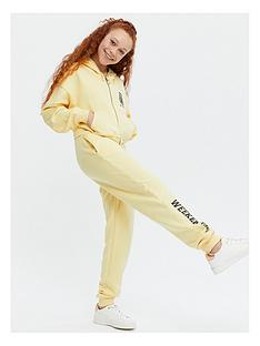 new-look-girlsnbsptrue-set-wkend-zip-hood-bralette-jogger-yellow