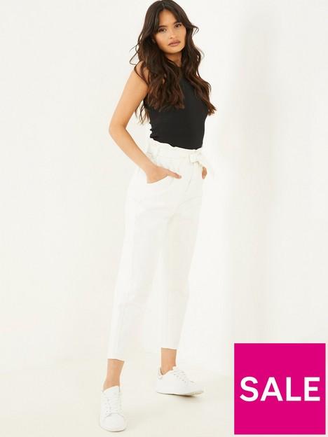 quiz-paper-bag-tie-waist-jeans-white