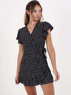 quiz-spot-crepe-wrap-mini-dress-black