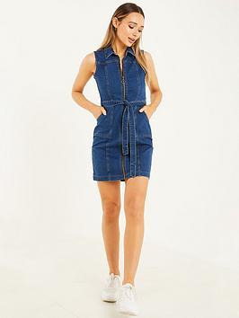 quiz-quiz-blue-stretch-denim-zip-through-collar-mini-dress